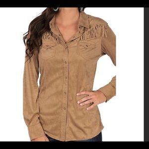 Ariat tan faux suede western fringe shirt